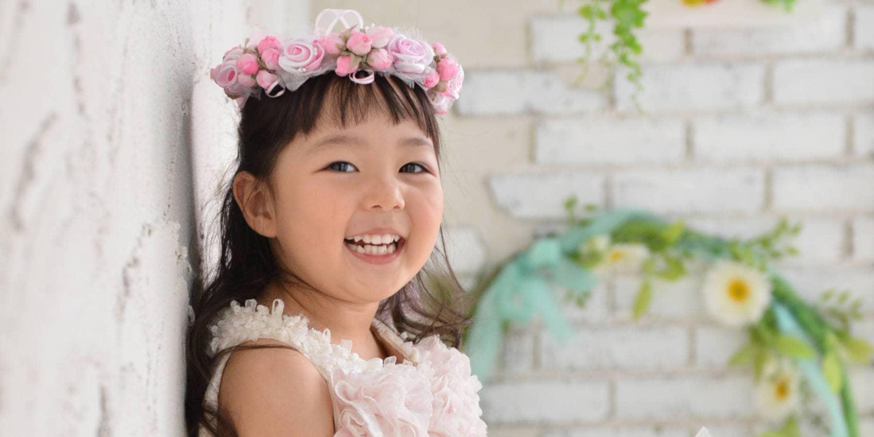 家族写真館 笑顔 七五三 3歳ドレスイメージ3